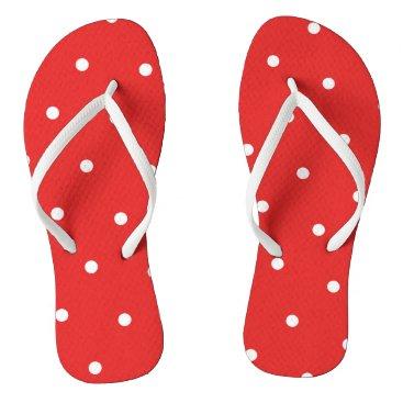 Beach Themed Red/White Polka Dot Flip Flops