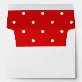Red White Polka Dot Inside Lined Envelope