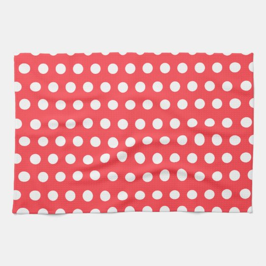 Red White Polka Dot Kitchen Towel Zazzle Com