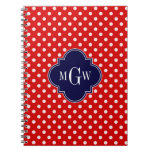 Red White Polka Dot Navy Quatrefoil 3 Monogram Spiral Notebook