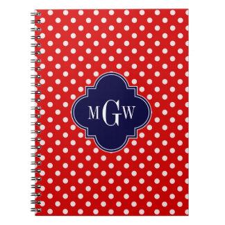 Red White Polka Dot Navy Quatrefoil 3 Monogram Spiral Notebook