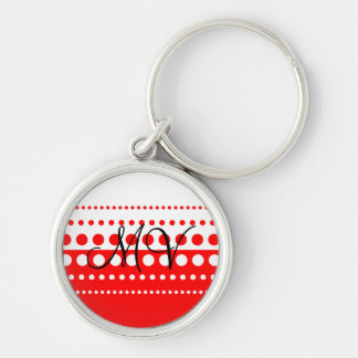 Red White Polka Dot Pattern Silver-Colored Round Keychain