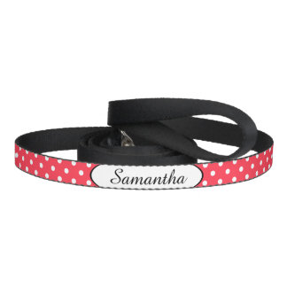 Red White Polka Dot Personalized Pet Leash