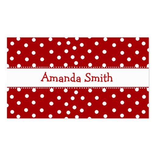 Red & White Polka Dot Play Date Card Business Card Templates