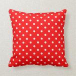Red White Polka Dot Spot Pattern Pillow