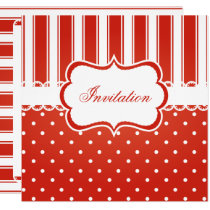 Red & White Polka Dot Stripes Party Template