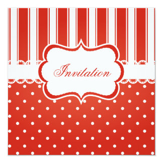 Red & White Polka Dot Stripes Party Template Card