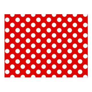 Red & White Polka Dot Wedding RSVP Postcard