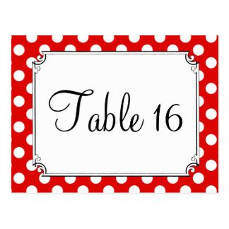 Red & White Polka Dot Wedding Table Numbers Postcard