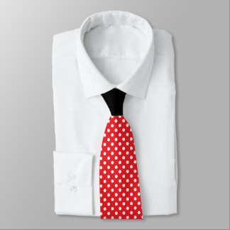 Red White Polka Dot with Black Knot Contrast Tie
