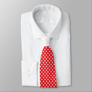 Red White Polka Dot with White Knot Contrast Neck Tie