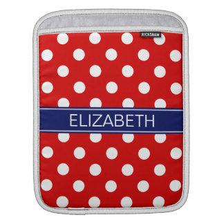 Red White Polka Dots #2 Navy Name Monogram iPad Sleeve