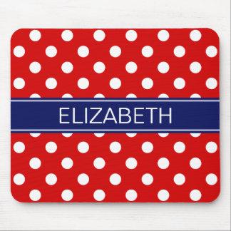 Red White Polka Dots #2 Navy Name Monogram Mouse Pad