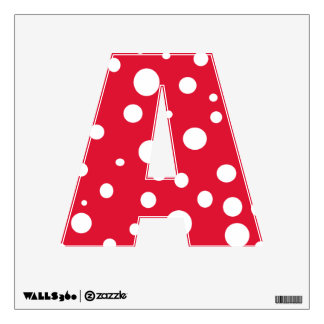 Red White Polka Dots Alphabet Letters Wall Decal A