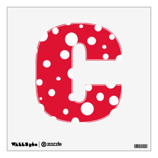 Red White Polka Dots Alphabet Letters Wall Decal C