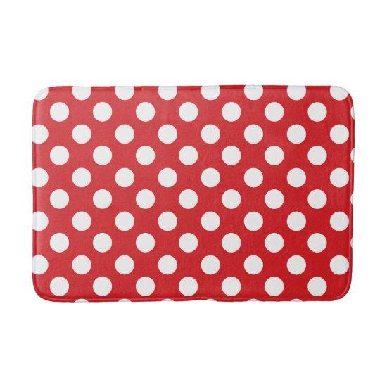 Red & White Polka Dots Bath Mat