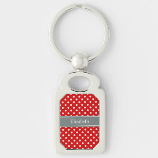 Red White Polka Dots Charcoal Ribbon Monogram Silver-Colored Rectangular Metal Keychain