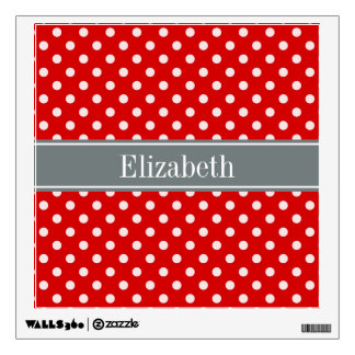 Red White Polka Dots Charcoal Ribbon Monogram Wall Sticker