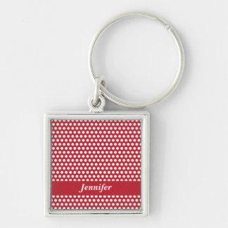 Red& white polka dots custom girls name keychain