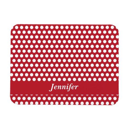 Red & white polka dots custom girls name magnet
