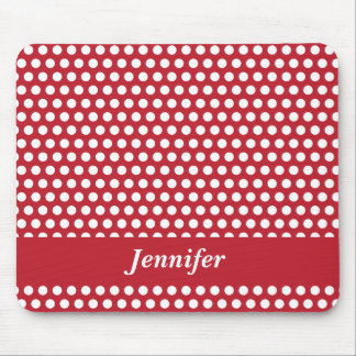 Red & white polka dots custom girls name mousepad