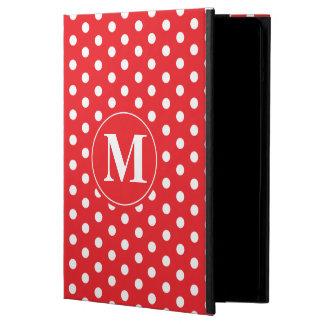 Red White Polka Dots & Custom Monogram Case For iPad Air