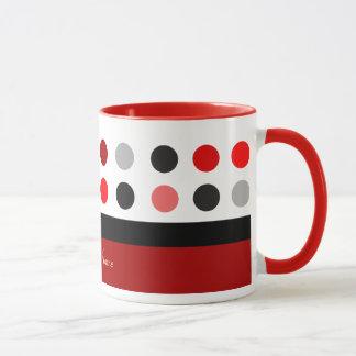 Red & white polka dots customizable design mug