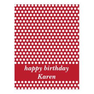 Red & white polka dots happy birthday postcard