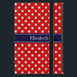 """Red White Polka Dots Navy Blue Ribbon Monogram iPad Mini Cover<br><div class=""""desc"""">Red and White Polka Dots Pattern, Navy Blue Ribbon Name Monogram Label Customize this with your name, monogram or other text. You can also change fonts, adjust font sizes and font colors, move the text, etc. Please note that this is a digitally created graphic design that"""
