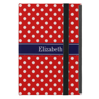 Red White Polka Dots Navy Blue Ribbon Monogram iPad Mini Cover