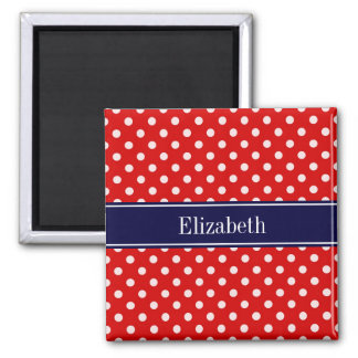 Red White Polka Dots Navy Blue Ribbon Monogram 2 Inch Square Magnet