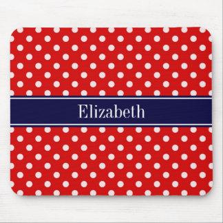 Red White Polka Dots Navy Blue Ribbon Monogram Mouse Pad