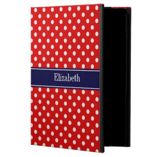 Red White Polka Dots Navy Blue Ribbon Monogram Powis iPad Air 2 Case