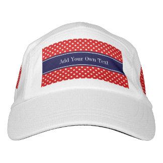 Red White Polka Dots Navy Blue Ribbon Monogram Headsweats Hat