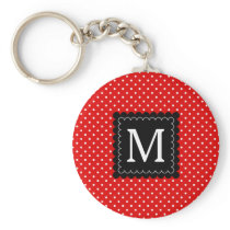 Red White Polka Dots Pattern Black Monogram Design Keychain