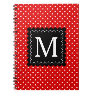 Red White Polka Dots Pattern Black Monogram Design Notebook