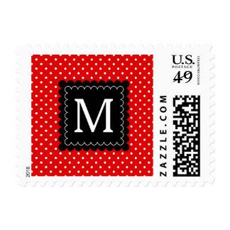 Red White Polka Dots Pattern Black Monogram Design Stamps