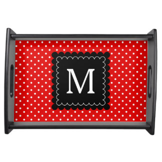 Red White Polka Dots Pattern Black Monogram Design Serving Tray