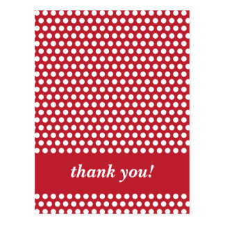Red & white polka dots pattern thank you postcard