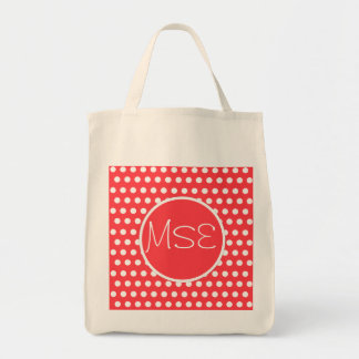 Red White Polka Dots Pattern Tote Bag