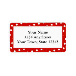 Red & White Polka Dots Printed Address Labels Labels