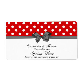 Red, White Polka Dots Water Label, Charcoal Label