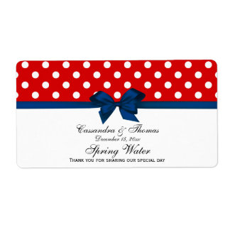 Red, White Polka Dots Water Label, Navy Bow Label