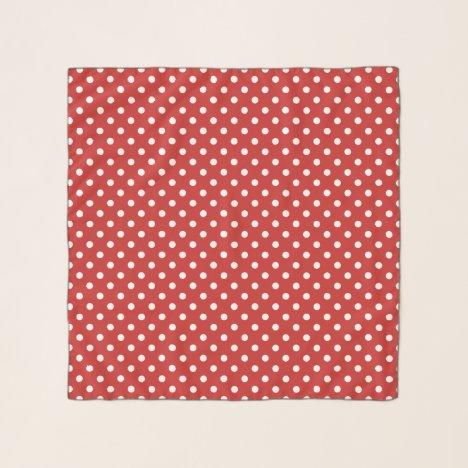 Red & white polkadot pattern square chiffon scarf