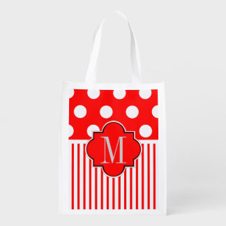 Red white polkadots stripe grocery bag