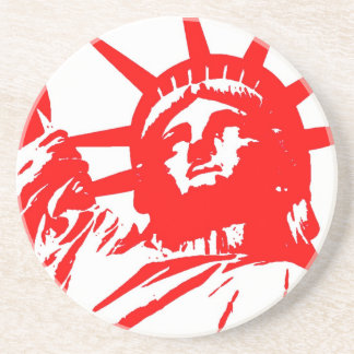 Red & White Pop Art Lady Liberty Drink Coaster