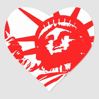 Red & White Pop Art Lady Liberty Heart Sticker