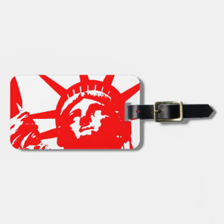 Red & White Pop Art Lady Liberty Luggage Tag