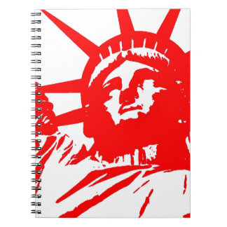 Red & White Pop Art Lady Liberty Notebook