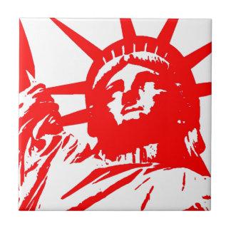 Red & White Pop Art Lady Liberty Tile